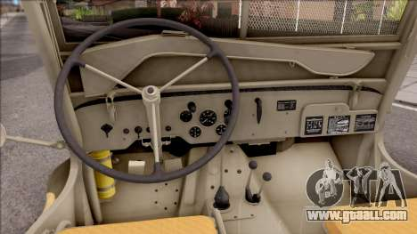 Jeep Willys MB 1945 for GTA San Andreas inner view