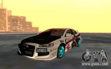 Mitsubishi Lancer Evolution for GTA San Andreas inner view