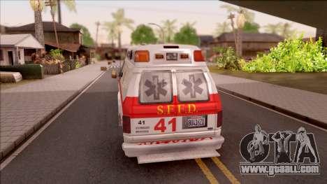 Ford E-350 SFFD San Francisco Ambulance for GTA San Andreas back left view