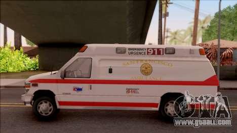 Ford E-350 SFFD San Francisco Ambulance for GTA San Andreas left view