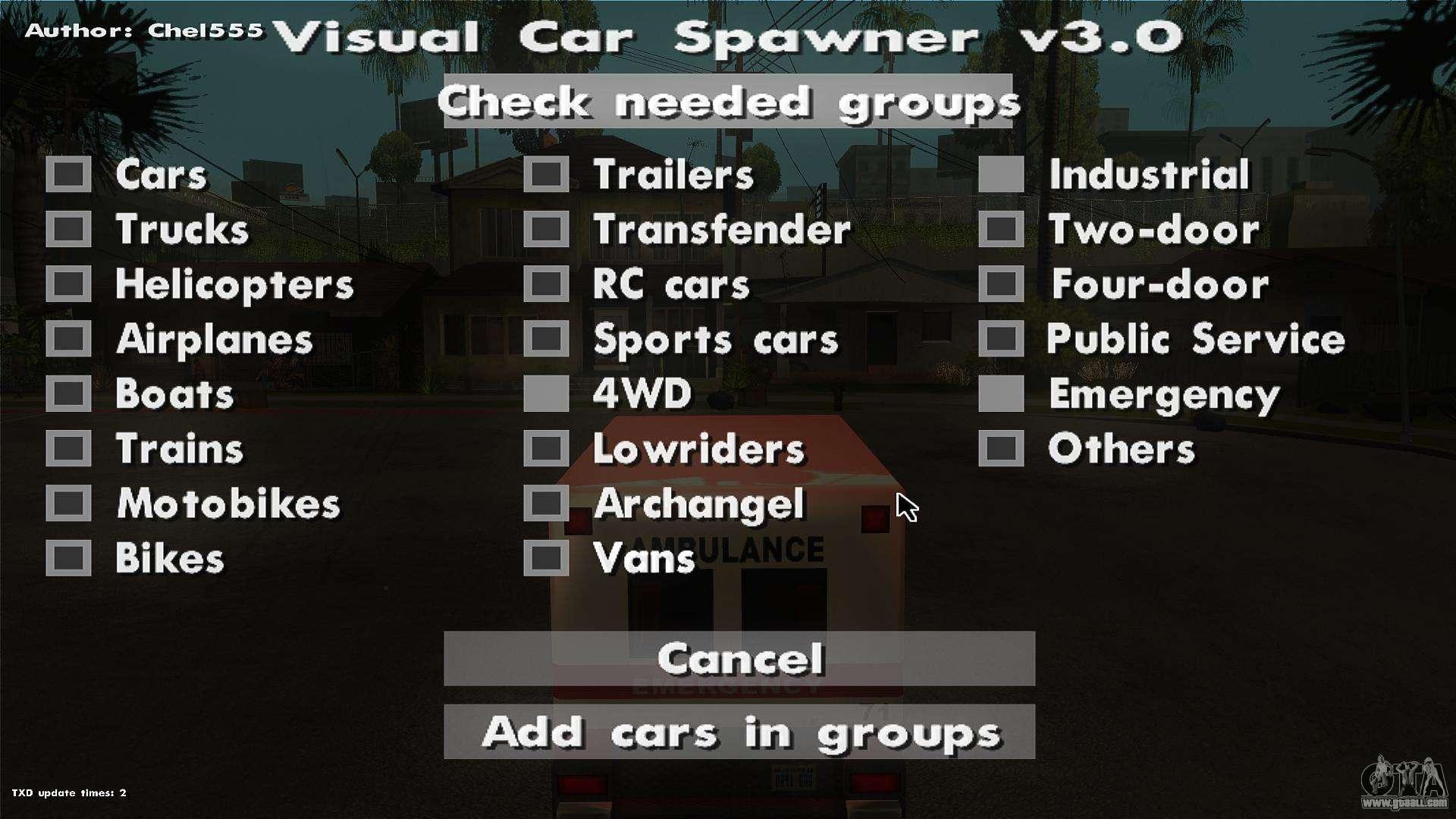 Visual car spawner v30 for gta san andreas visual car spawner v30 for gta san andreas forth screenshot publicscrutiny Choice Image