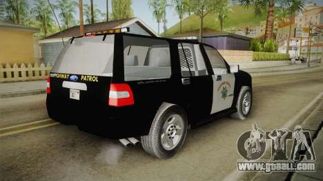 Ford Expedition CHP for GTA San Andreas back left view