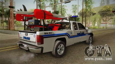 GMC Sierra San Andreas Police Lifeguard 2010 for GTA San Andreas back left view