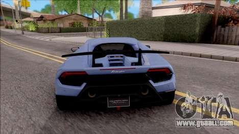 Lamborghini Huracan Performante for GTA San Andreas back left view