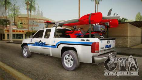 GMC Sierra San Andreas Police Lifeguard 2010 for GTA San Andreas left view