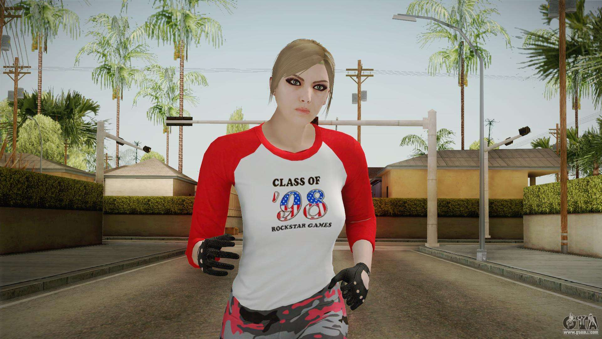 aeb10d3566b Gun Running Female Skin Red for GTA San Andreas