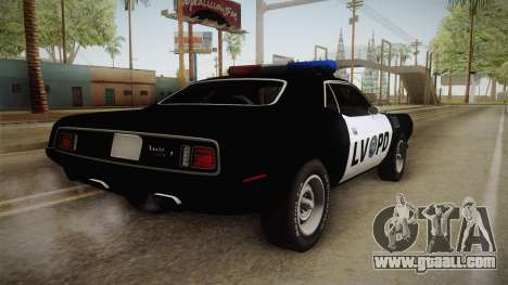 Plymouth Hemi Cuda 426 Police LVPD 1971 for GTA San Andreas left view