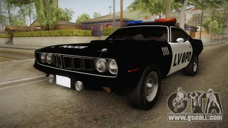 Plymouth Hemi Cuda 426 Police LVPD 1971 for GTA San Andreas back left view