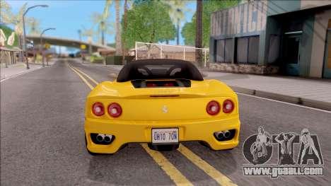 Ferrari 360 Spider US-Spec 2000 HQLM for GTA San Andreas back left view