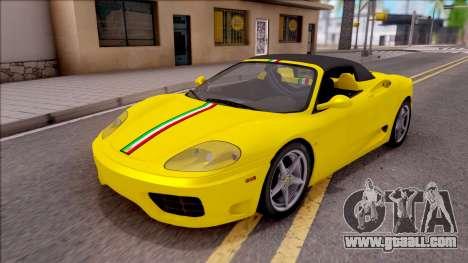 Ferrari 360 Spider US-Spec 2000 HQLM for GTA San Andreas upper view