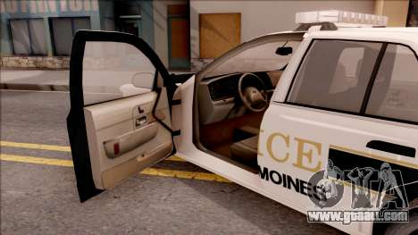Ford Crown Victoria 2007 West Des Moines PD for GTA San Andreas inner view
