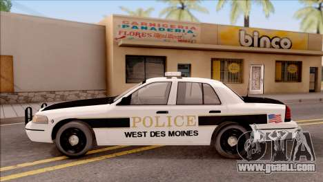 Ford Crown Victoria 2007 West Des Moines PD for GTA San Andreas left view