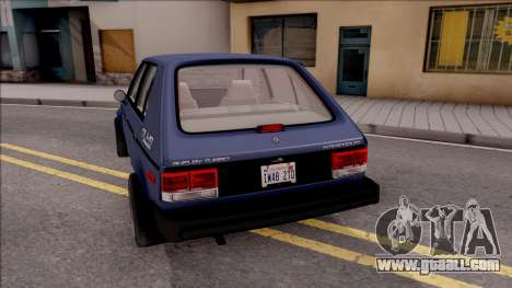 Dodge Shelby Omni GLHS 1986 for GTA San Andreas back left view