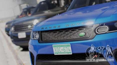 GTA 5 2014 Range Rover Sport SVR 5.0 V8 rear left side view