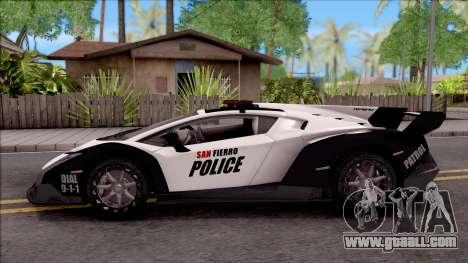 Lamborghini Veneno Police San Fierro for GTA San Andreas left view