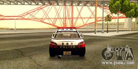 Subaru Impreza WRX STi 2004 Japanese Police for GTA San Andreas back view