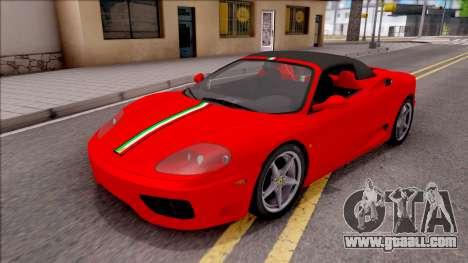 Ferrari 360 Spider US-Spec 2000 HQLM for GTA San Andreas inner view