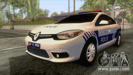 Renault Fluence Turkish Police Car for GTA San Andreas back left view