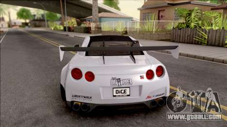 Nissan GT-R R35 LB Walk for GTA San Andreas back left view