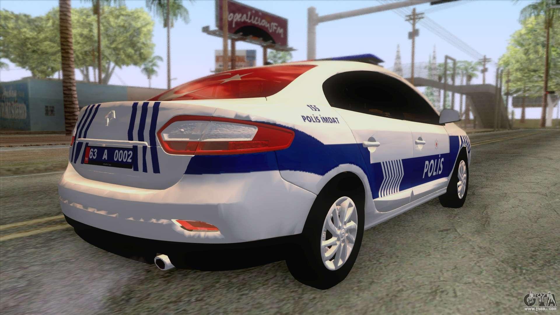 renault fluence turkish police car for gta san andreas. Black Bedroom Furniture Sets. Home Design Ideas