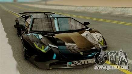 Lamborghini Aventador SV 2015 чёрный for GTA San Andreas