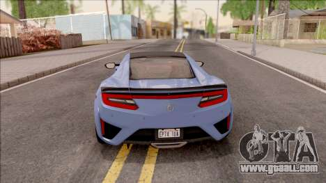 Acura NSX 2016 for GTA San Andreas back left view