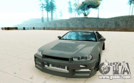 Nissan Skyline R34 for GTA San Andreas back view