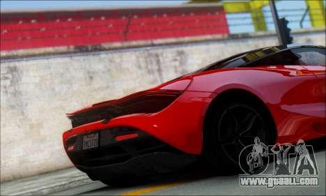 McLaren 720S for GTA San Andreas back left view