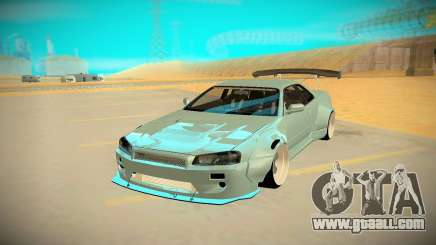 Nissan Skyline R34 silver for GTA San Andreas