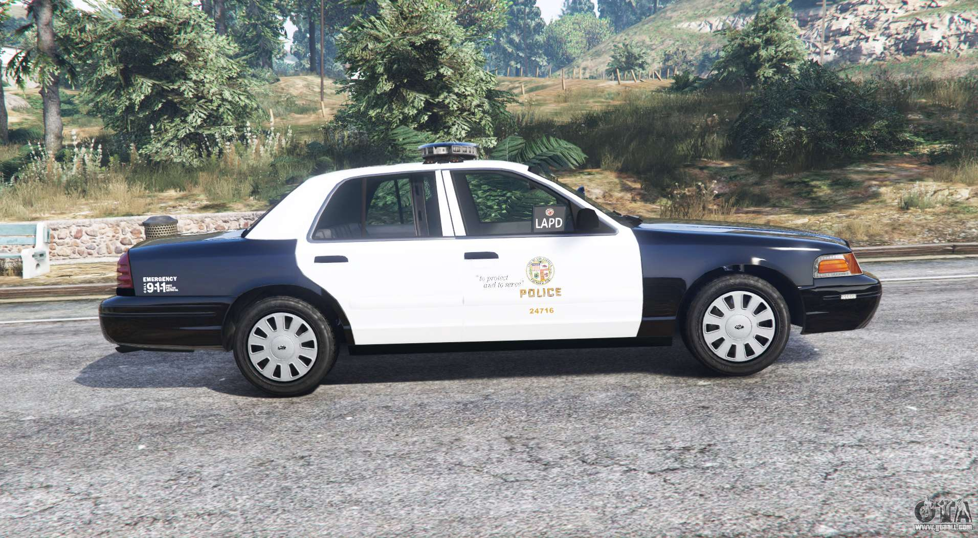 lapd crown ford victoria gta replace cvpi cars police v3 gta5 rear side