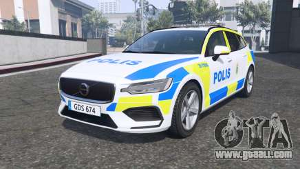 Volvo V60 T6 2018 Swedish Police [ELS] [replace] for GTA 5