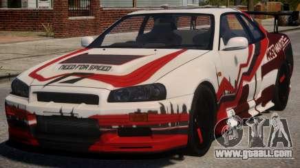 Nissan Skyline GT-R R34 PJ3 for GTA 4