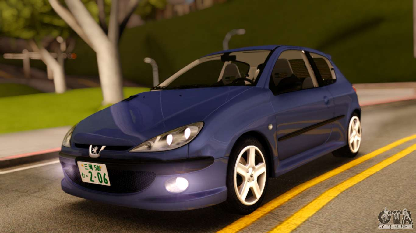 Peugeot 206 Rc Blue Color For Gta San Andreas