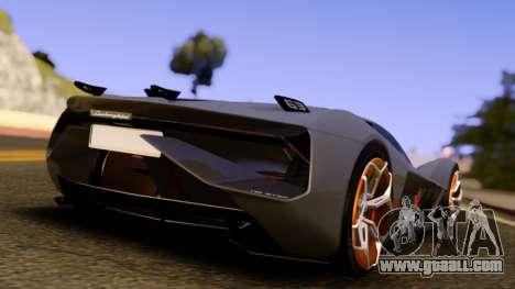 Lamborghini Terzo Millennio 2017 Concept for GTA San Andreas back left view