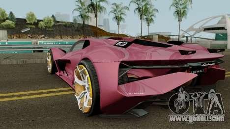 Lamborghini Terzo Millennio 2017 for GTA San Andreas back left view