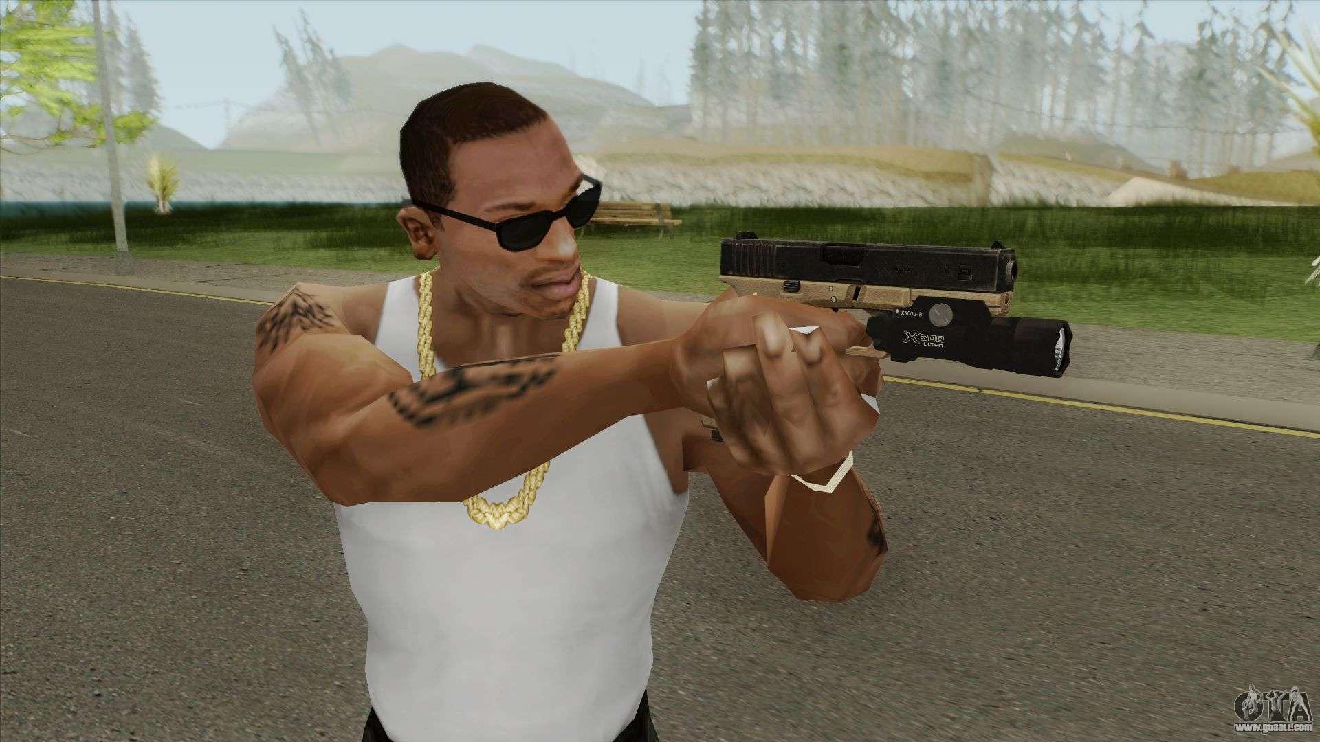 Glock 17 Tan With Flashlight For GTA San Andreas