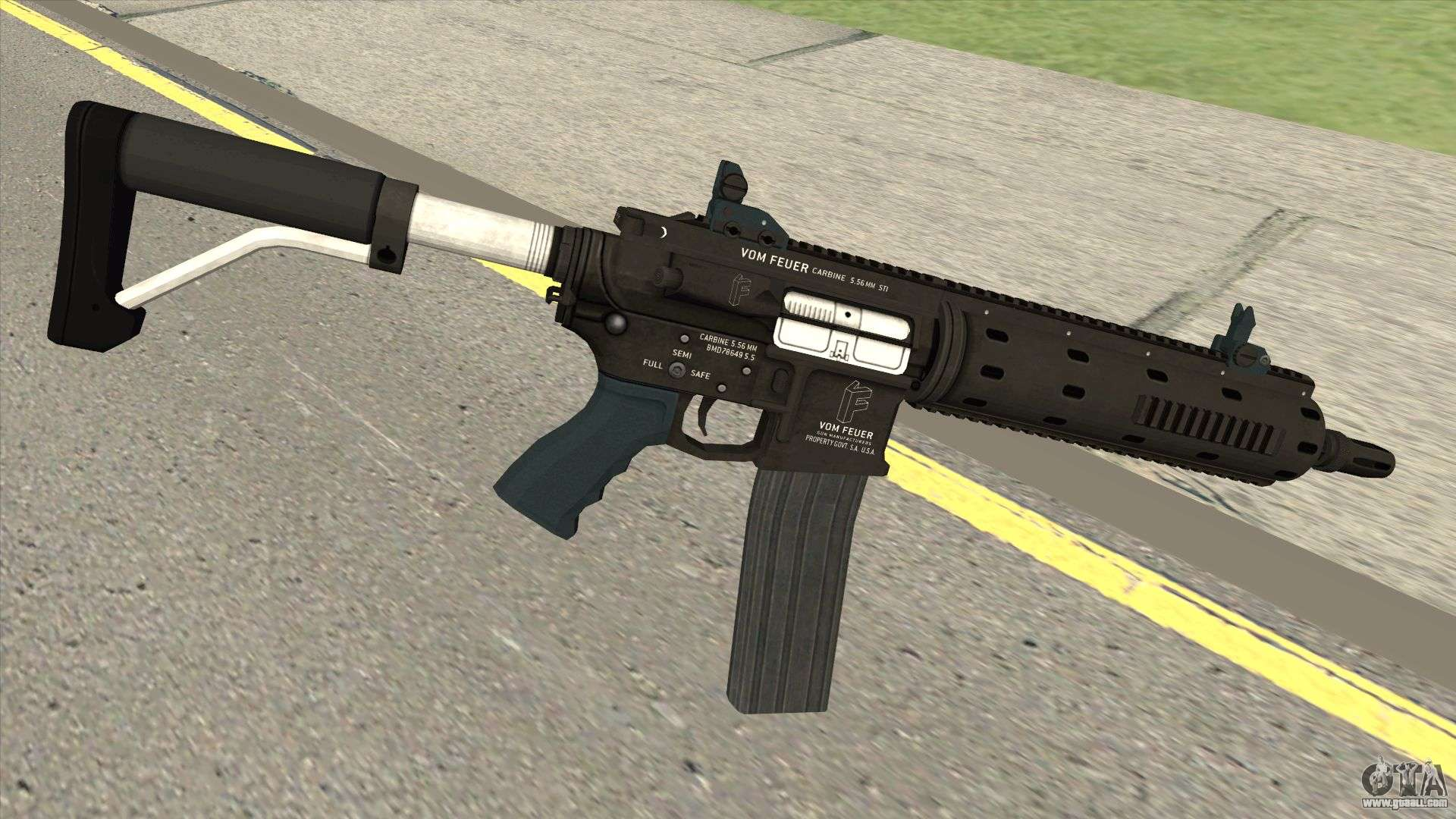 Vom Feuer Carbine Rifle GTA V (Extended Clip) For GTA San