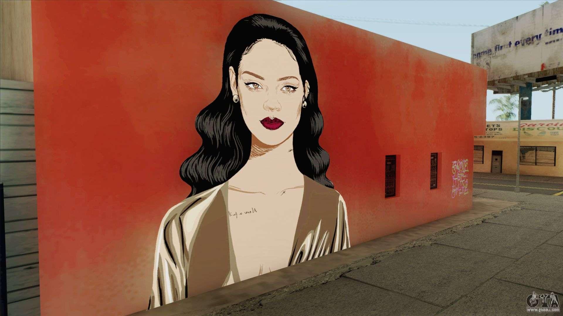 Rihanna Street Art For GTA San Andreas
