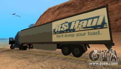 Trailer for Peterbilt 579 Sleeper (SA Style) for GTA San Andreas
