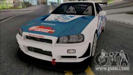 Nissan Skyline GT-R R34 Itasha [Fixed] for GTA San Andreas